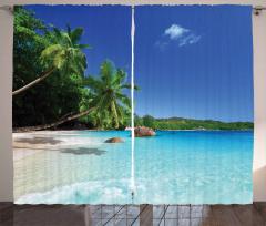 Beyaz Kumlu Cennet Fon Perde Deniz Gökyüzü