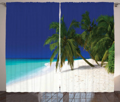 Lacivert Gökyüzü Temalı Fon Perde Mavi Deniz Ada