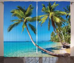 Güneşli Plaj Temalı Fon Perde Deniz Palmiye