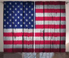 ABD Bayrağı Desenli Fon Perde Nostaljik Görünümlü