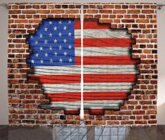 Tuğlalı ABD Bayrağı Fon Perde