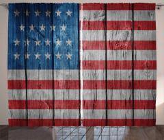 Amerikan Bayrağı Temalı Fon Perde Ahşap Zemin