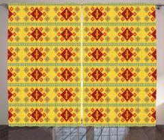 Sarı Geometrik Desenli Fon Perde Kilim Etkili