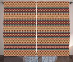 Etnik Geometrik Desenli Fon Perde Kahverengi