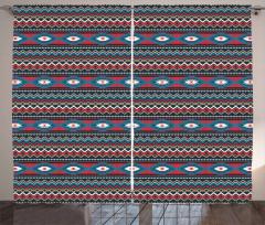 Etnik Geometrik Desenli Fon Perde Kırmızı Siyah