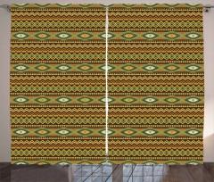 Etnik Süslemeli Fon Perde Geometrik Kahverengi