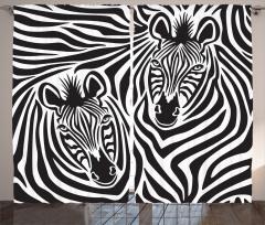 Hipnotize Eden Zebralar Fon Perde Siyah Beyaz