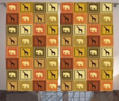 Fil ve Zürafa Desenli Fon Perde Afrika Temalı