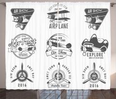 Siyah Beyaz Fon Perde Nostaljik Uçak Logoları