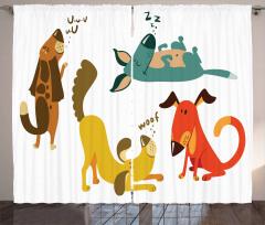Çocuklar için Fon Perde Oynayan Eğlenceli Köpekler