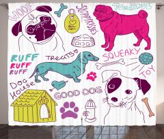 Hayvan Severlere Fon Perde Renkli Köpek Desenli