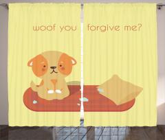 Çocuklar için Fon Perde Turuncu Sevimli Köpek Sarı
