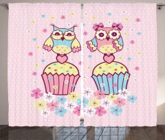 Kek ve Baykuş Desenli Fon Perde Pembe Dekoratif