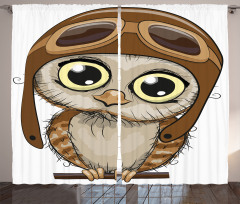 Pilot Baykuş Desenli Fon Perde Kahverengi Şık