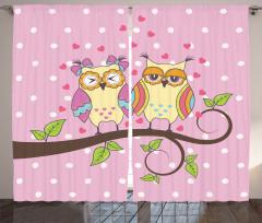 Pembe Baykuş Desenli Fon Perde Kalp Romantik
