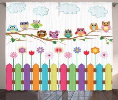 Baykuşlar ve Çiçekler Fon Perde Pembe Mor Şık