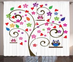 Salıncaktaki Baykuş Fon Perde Kalp Çiçek Ağaç