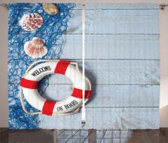 Deniz Kabuğu ve Can Simidi Temalı Fon Perde Mavi