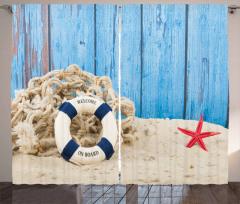 Huzur Veren Tatil Fon Perde Denizyıldızı Mavi