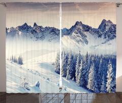 Karlı Orman Manzaralı Fon Perde Kış Dağlar Huzur
