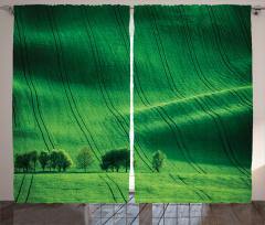 Huzur Veren Doğa Temalı Fon Perde Yeşil Ağaçlar