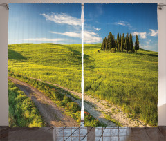 Huzurlu İtalya Manzarası Fon Perde Ağaçlar Yeşil