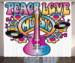 Aşk Barış ve Müzik Fon Perde Rengarenk