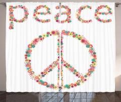 Barış Çiçekleri Desenli Fon Perde Hippi Rengarenk