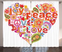 Çiçek Dolu Kalp Temalı Fon Perde Hippi Etkili