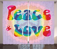 Aşk ve Barış Temalı Fon Perde Rengarenk Gökkuşağı