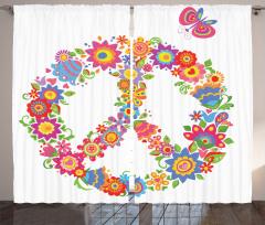 Barış Çiçekleri Desenli Fon Perde Rengarenk Hippi
