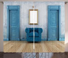 Mavi Ahşap Kapı ve Ayna Fon Perde Şık Tasarım
