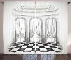Antik Oda Temalı Fon Perde Siyah Beyaz Şık Tasarım