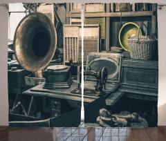 Antikacı Temalı Fon Perde Gramofon Dikiş Makinesi