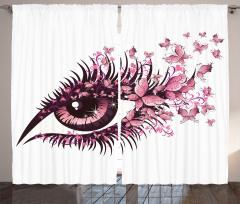 Kirpik Kelebek ve Göz Fon Perde Göz