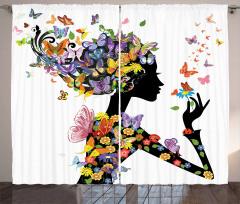 Kelebekli Kız Desenli Fon Perde Rengarenk Trend