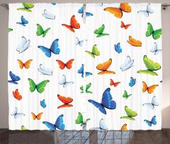 Bahar Kelebekleri Desenli Fon Perde Rengarenk
