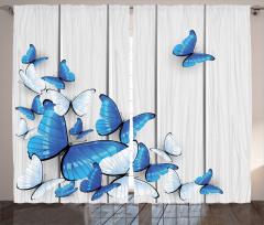 Mavi ve Beyaz Kelebek Desenli Fon Perde Ahşap Fon