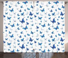 Mavi Beyaz Kelebek Desenli Fon Perde Beyaz Fonlu