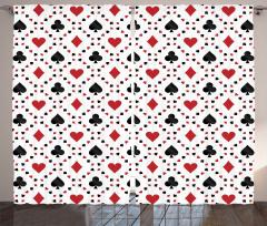 Kalp Desenli Fon Perde Poker Temalı Kırmızı Siyah