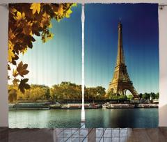 Eyfel Kulesi Manzaralı Fon Perde Sonbahar Temalı