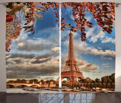Paris Temalı Fon Perde Romantik Şık Sonbahar Trend