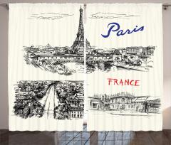 Paris Temalı Fon Perde Elle Çizim Şık Tasarım