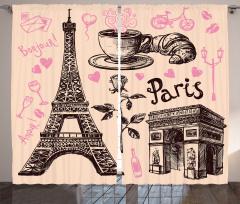 Paris Temalı Fon Perde Romantik Trend Kalp Şarap