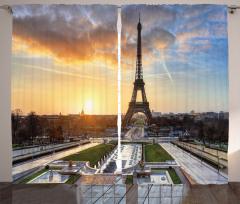Gün Doğumu Manzaralı Fon Perde Paris Temalı Şık