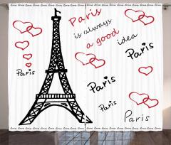 Aşk Temalı Fon Perde Paris Çeyizlik Şık Tasarım