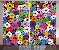 Çiçek Temalı Fon Perde Rengarenk Çeyizlik Şık