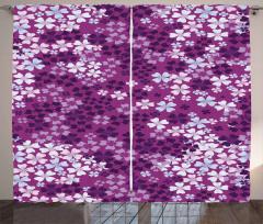 Mor Çiçek Desenli Fon Perde Çeyizlik Şık Tasarım