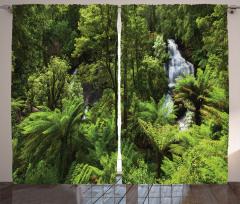 Ormandaki Şelale Temalı Fon Perde Yeşil Ağaç Doğa