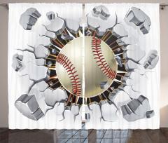 Beyzbol Topu Desenli Fon Perde Gri Bej Şık
